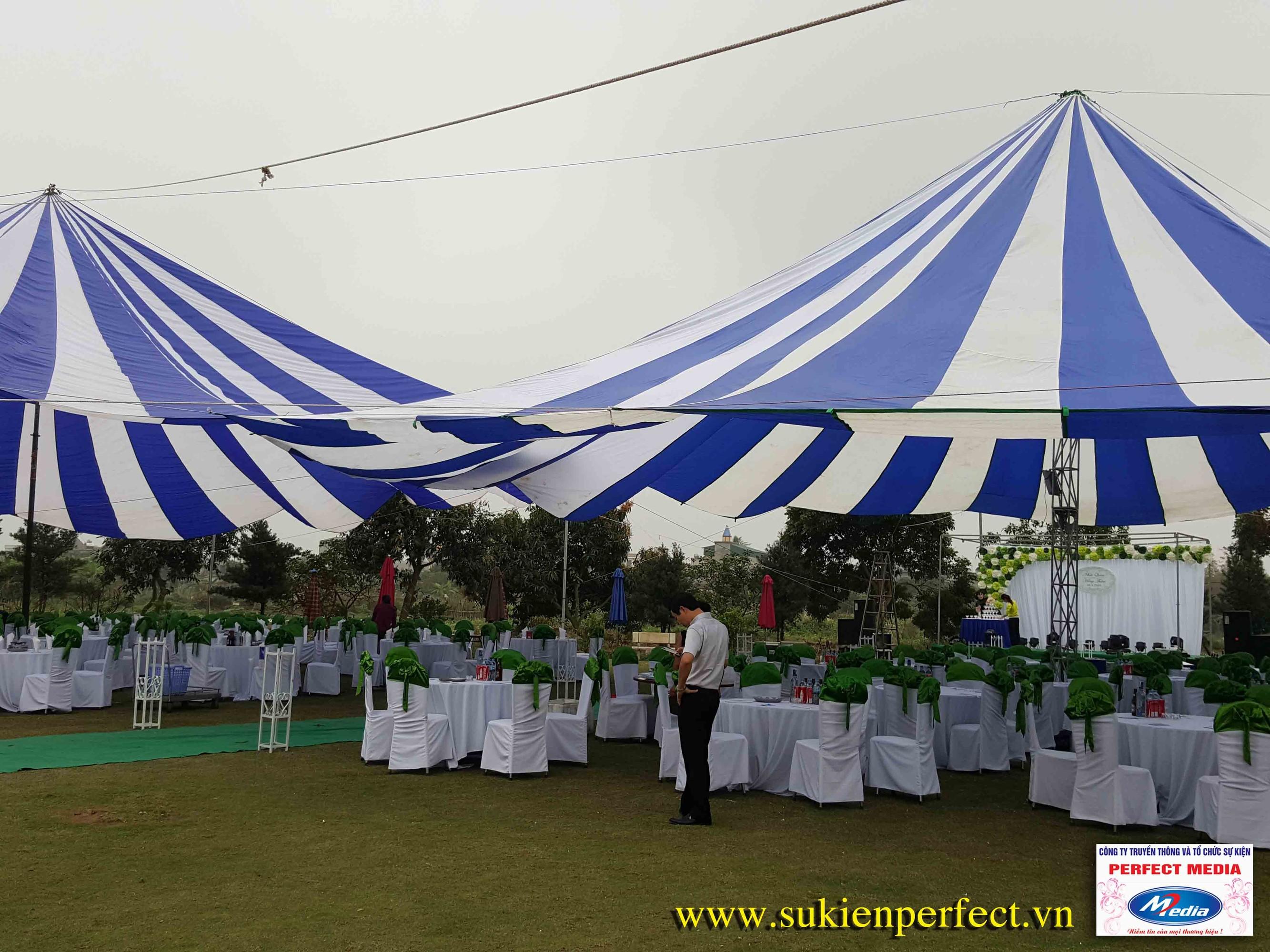 Nhà dù trắng - xanh