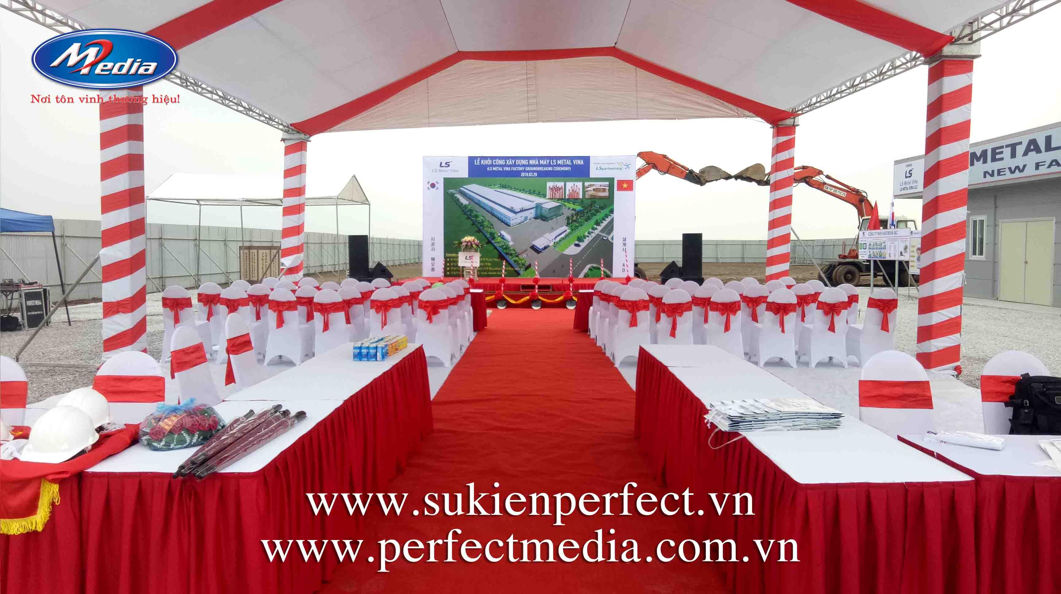 Công ty truyền thông & tổ chức sự kiện Perfect Media là đơn vị thực hiện trọn gói sự kiện Lễ khởi công xây dựng Nhà máy LS Metal Vina tại Hải Phòng